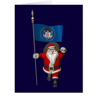 Weihnachtsmann mit Fahne von Utah Karte