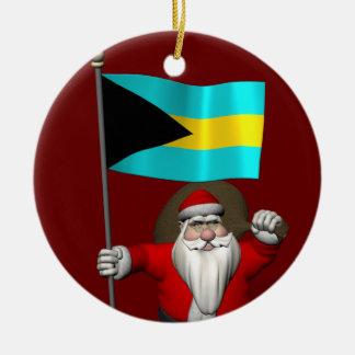 Weihnachtsmann mit Flagge der Bahamas Keramik Ornament