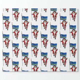 Weihnachtsmann mit Flagge von Curaçao Geschenkpapier