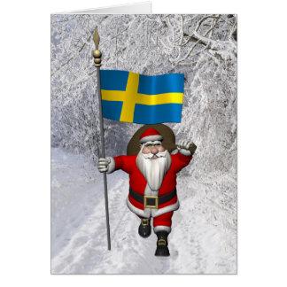 Weihnachtsmann mit Flagge von Schweden Grußkarte