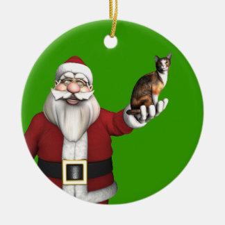 Weihnachtsmann mit Kaliko-Katze Keramik Ornament