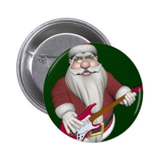 Weihnachtsmann mit roter E-Gitarre Runder Button 5,7 Cm