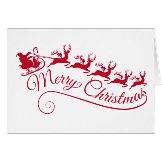 Weihnachtsmann mit seinem Pferdeschlitten und Ren Grußkarte