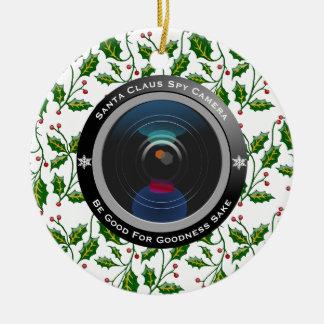 Weihnachtsmann-Spions-Kamera Keramik Ornament