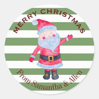 Weihnachtsmann Stripes personalisiertes Runder Aufkleber