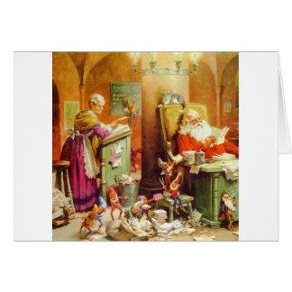 Weihnachtsmann u. Frau Klaus im NordpolMailroom Karte