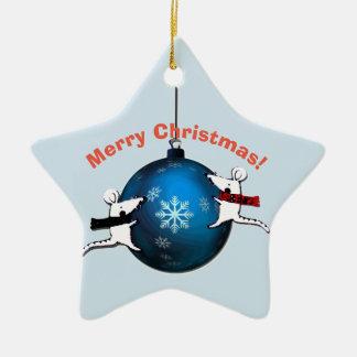 Weihnachtsmann und Ratten Keramik Ornament