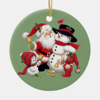 Weihnachtsmann- und Schneemannhintergrund Keramik Ornament