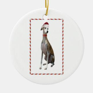 Weihnachtsmann-Windhund Keramik Ornament