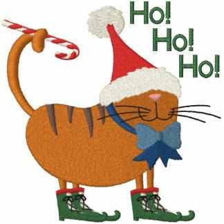 Weihnachtsmannmütze-Katze Besticktes Poloshirt