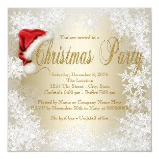 Weihnachtsmannmütze-Schneeflocke-WeihnachtsParty Karte