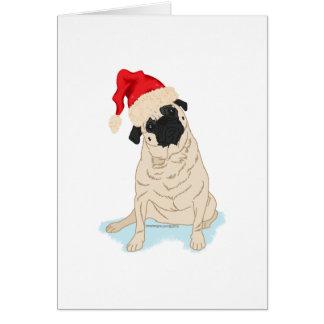 Weihnachtsmannmütze-WeihnachtsMops Mitteilungskarte