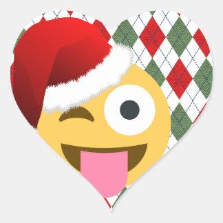 Weihnachtsmannwink emoji Herz-Aufkleber