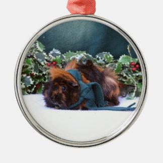 Weihnachtsmeerschweinchen-Verzierung Rundes Silberfarbenes Ornament
