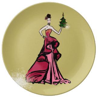 Weihnachtsmode-Illustration mit Baum Teller