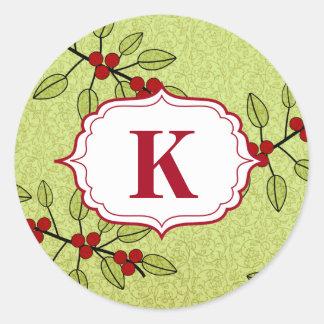 Weihnachtsmonogramm-Umschlag Runder Aufkleber