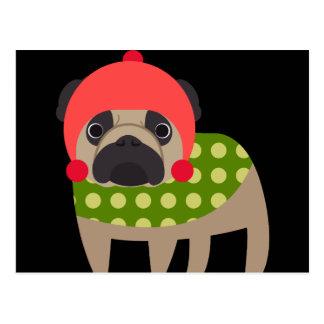WeihnachtsMops-Hund Postkarte