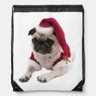 WeihnachtsMops - Weihnachtsmann-Hund - verfolgen Turnbeutel
