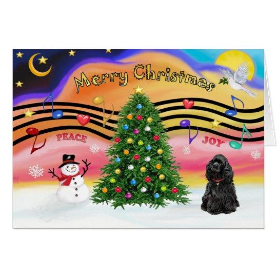 Weihnachtsmusik 2 - Cocker spaniel (Schwarzes) Karte