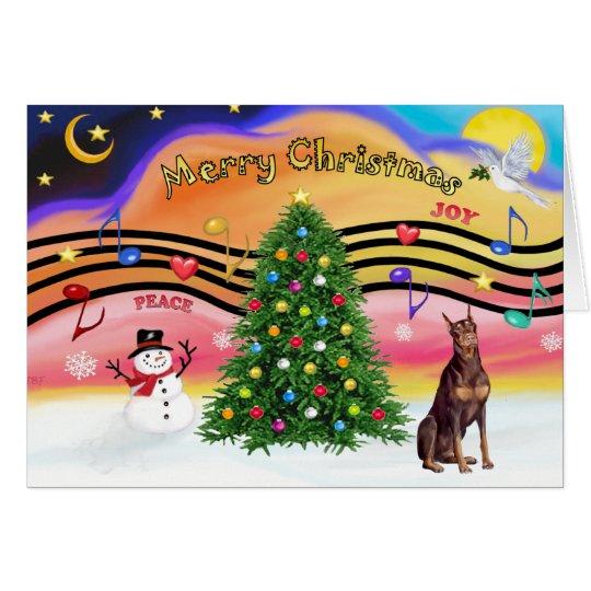 Weihnachtsmusik 2 - roter Dobermann Karte