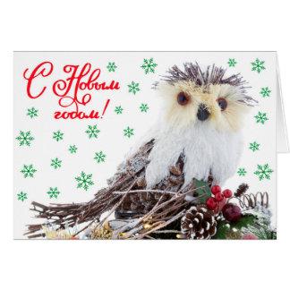 Weihnachtsneues Jahr-kluge Eulen-Vintages Grußkarte