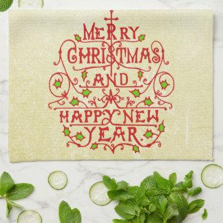 Weihnachtsneues Jahr-Vintage Typografie Geschirrtuch