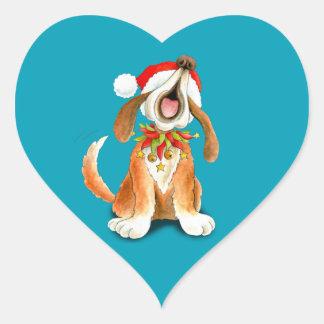 Weihnachtsniedliche Gesanghundeblauaufkleber Herz-Aufkleber