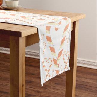 Weihnachtsorange Zuckerstange-Tabellen-Läufer Kurzer Tischläufer