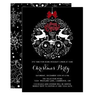WeihnachtsParty Einladung der Ren-Verzierungs-|