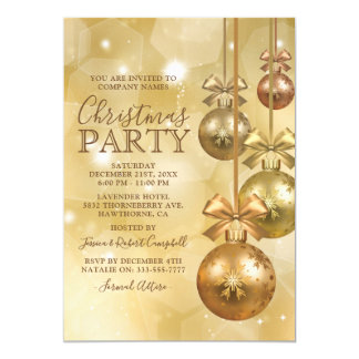 WeihnachtsParty Gold Ornament Business Company Karte