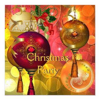 WeihnachtsParty-Goldgelbes Grün-rotes Weihnachten Quadratische 13,3 Cm Einladungskarte