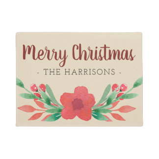 Weihnachtspersonalisierte Familienname-Tür-mit Türmatte