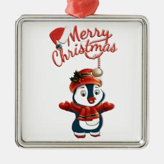WeihnachtsPinguin-erstklassige quadratische Silbernes Ornament