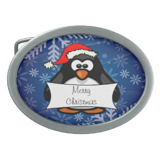 WeihnachtsPinguin Ovale Gürtelschnallen