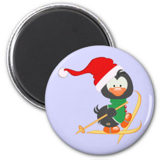 WeihnachtsPinguin-Skifahren Runder Magnet 5,7 Cm