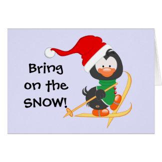 WeihnachtsPinguin-Skifahren-Schnee Karte