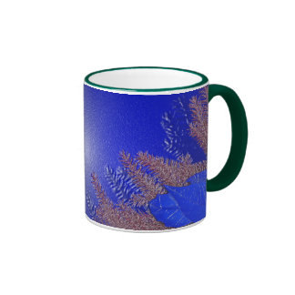 Weihnachtspoinsettia-Blau I Ringer Tasse