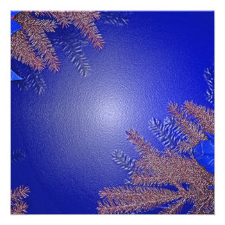 Weihnachtspoinsettia-Blau III Personalisierte Ankündigung