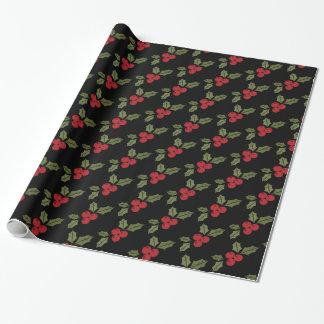 Weihnachtspoinsettia-Blumen-Mistelzweig-Rot-Beeren Geschenkpapier