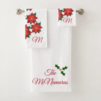 Weihnachtspoinsettia-Monogramm-Badezimmer-Tuch-Set