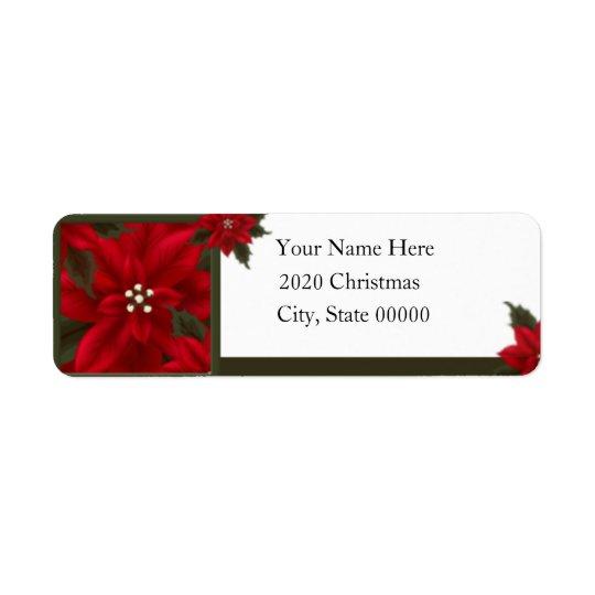 Weihnachtspoinsettia-Rücksendeadresse