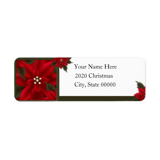 Weihnachtspoinsettia-Rücksendeadresse Rücksendeetikett