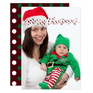 Weihnachtspolka-Punkte u. Streifen-Foto-Karte 12,7 X 17,8 Cm Einladungskarte