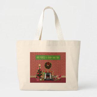 Weihnachtsraum, Kamin, Baum, Spielwaren Jumbo Stoffbeutel
