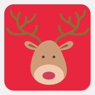 Weihnachtsren-Aufkleber - Blatt von 20 Quadratischer Aufkleber