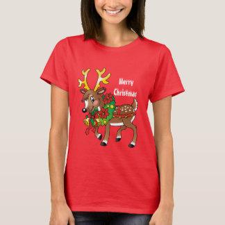 Weihnachtsren-Feiertags-Cartoon-T - Shirt