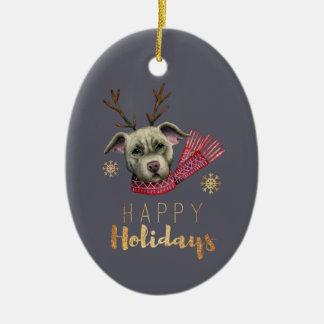 Weihnachtsren-Grube Stier mit Keramik Ornament