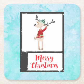 Weihnachtsren in einer hässlichen Strickjacke Rechteckiger Pappuntersetzer