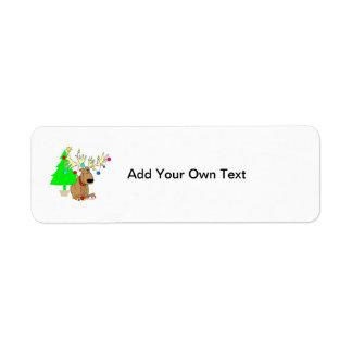 Weihnachtsren-lustiger Rückholaufkleber Rückversand-Adressaufkleber