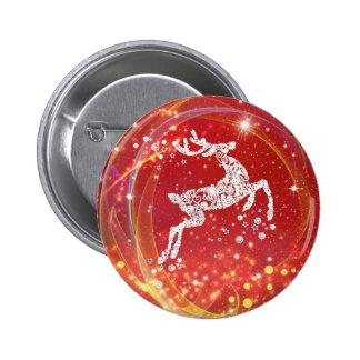 Weihnachtsren mit Glitzern Runder Button 5,1 Cm